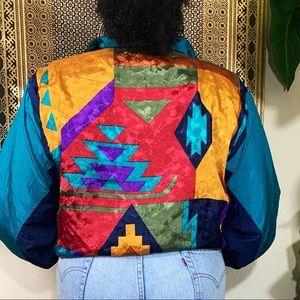 Tribal Print Windbreaker Jacket